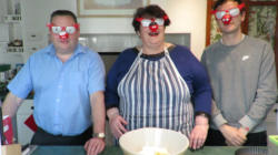 Three blind mice (L-R) John Penny and Toby - baking for comic relief